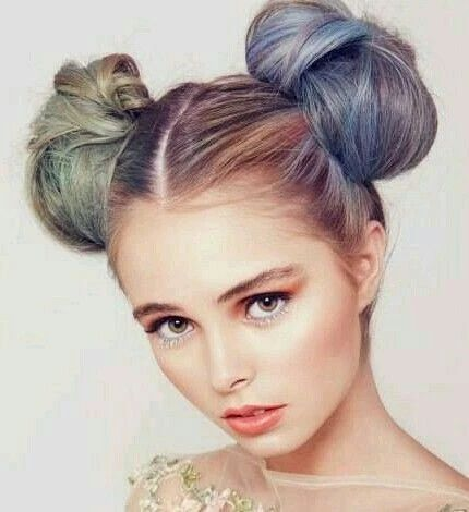 Mischievous looks with two high buns large result - MCSARA Hair