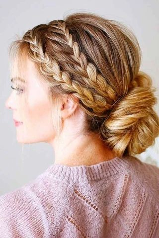 mcsara Braided hair combined with a low or high bun large - MCSARA Hair